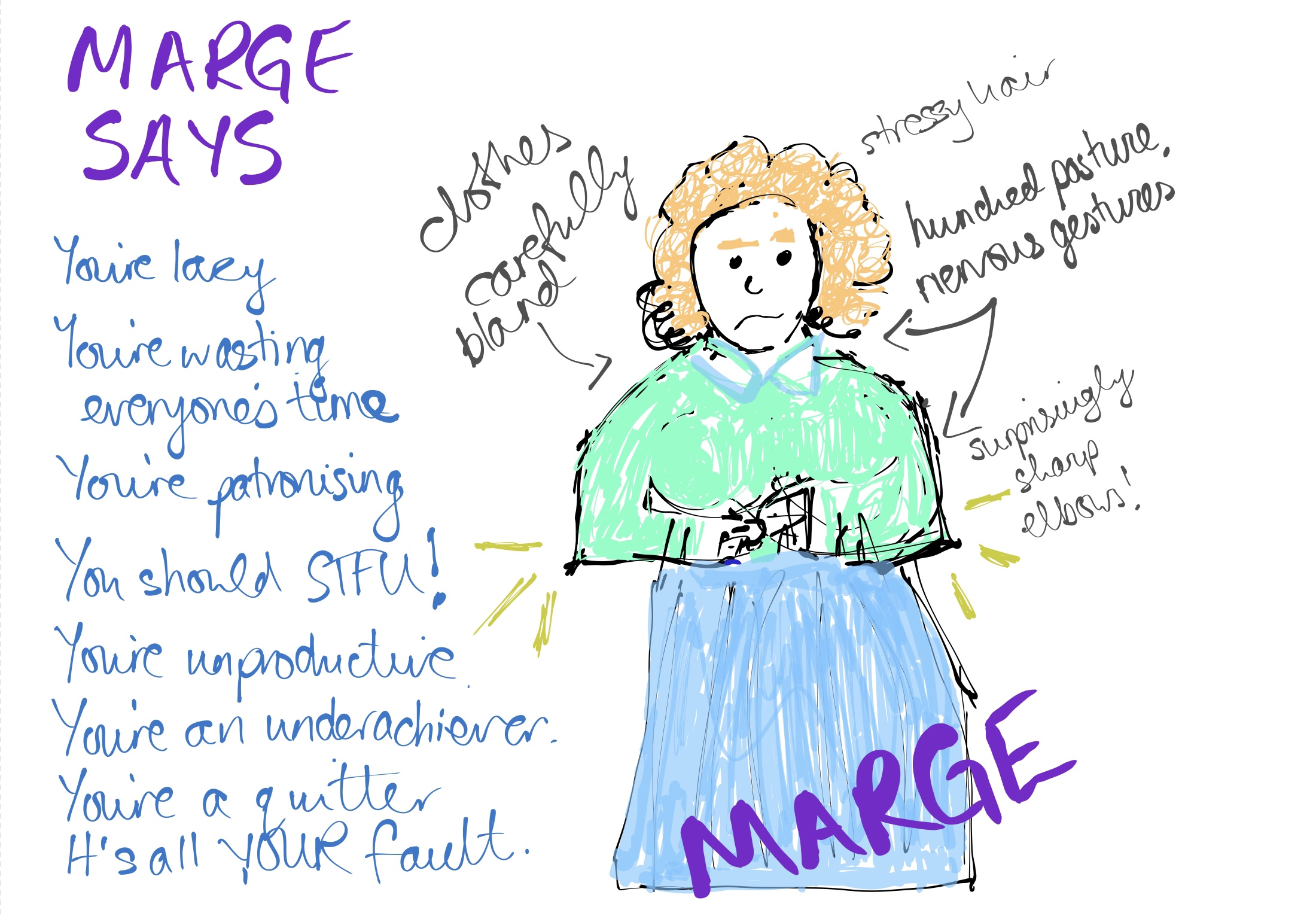 A very bad felt-tip pen drawing of a white woman with pale orange messy hair, a pastel green shirt and an unflattering calf-length pastel blue skirt. She is wringing her hands nervously. To the left, a caption reads 'MARGE SAYS- You're lazy! You're patronising! You should STFU! You're a quitter! You're wasting everyone's time! You're unproductive! You're an underachiever! It's ALL YOUR FAULT!'