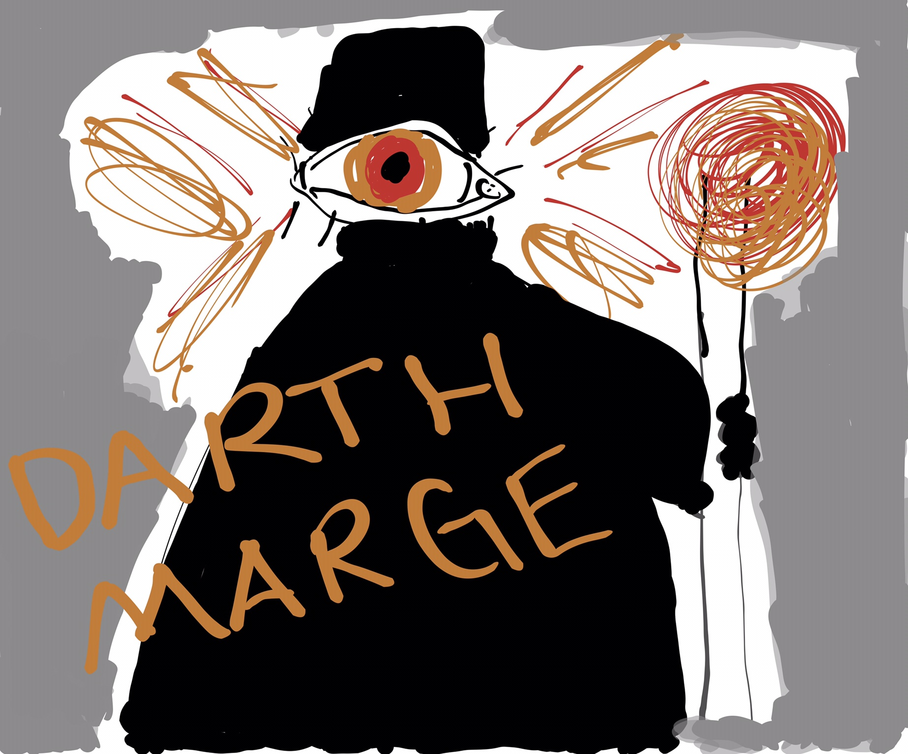 An image titled 'DARTH MARGE'. Against a grey background stands a black robed figure wearing some kind of rectangular helmet with a single, huge, flaming eye where the face should be. The figure holds a flaming staff and orange flames shoot out of its head.